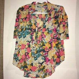 Anthropologie Maeve Floral Henley Blouse